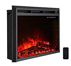 Electric Fireplace Insert,Freestanding & Recessed Electric Stove Heater,Touch Screen,Remote Control,750W-1500W,Black,by R.W.FLAME