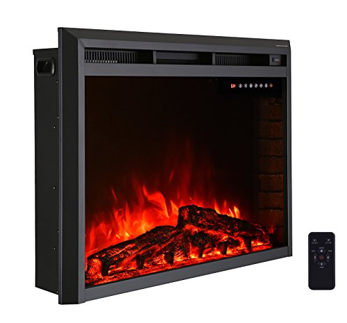 R.W.FLAME 36'' Electric Fireplace Insert,Freestanding & Recessed Electric Stove Heater,Touch Screen,Remote Control,750W-1500W,Black 36' Glass Wall