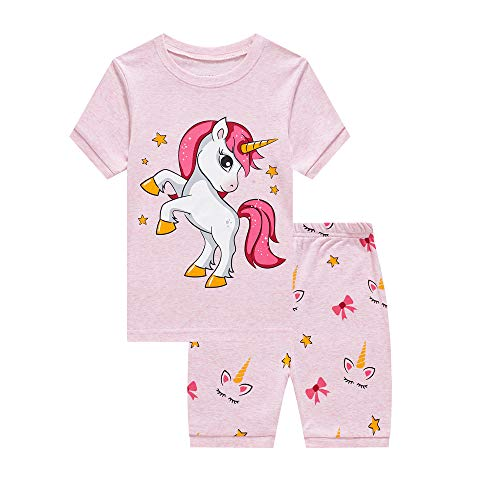LitBud Little Girls Kids Unicorn Pajamas Sleepwears 2pcs Short Sleeves Pjs Nightwear Tops + Pants Sets Nightwear for Toddler Size 1-2 Years 2T