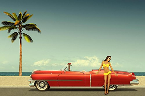 Laminated Sexy Young Woman Leaning on Old Fashioned Cadillac Convertible Beach Photo Art Print Sign Poster 18x12 inch