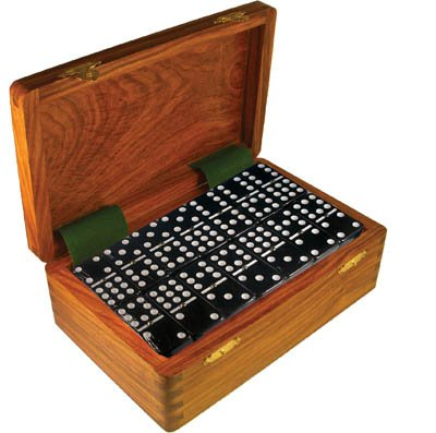 Domino Double Nine Black in Dovetail Jointed Sheesham Wood Box - Jumbo Tournament Size w/Spinners