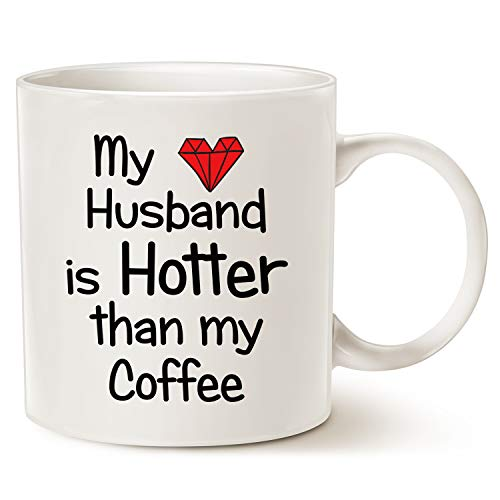 MAUAG Funny Quote Coffee Mug for Husband Christmas Gifts, My Husband Is Hotter Than My Coffee Love Red Heart Valentines Day Cup White, 11 Oz