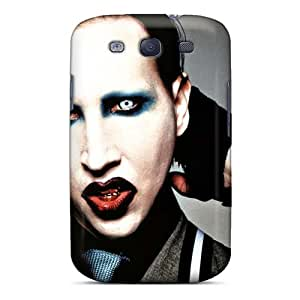 Shock-Absorbing Hard Phone Case For Samsung Galaxy S3 With Support Your Personal Customized Attractive Marilyn Manson Band Series SherriFakhry