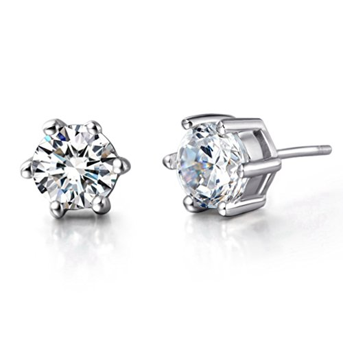FENDINA Womens Classic 925 Sterling Silver Plated Swarovski Element CZ Crystal Stud Earrings