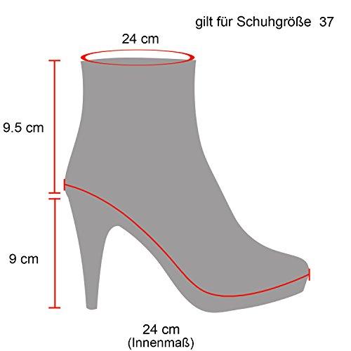 363f7a5773d6dc ... Stiefelparadies Damen Ankle Boots Plateau Stiefeletten Zipper  Leder-Optik Schuhe Metallic High Heels Strass Profilsohle