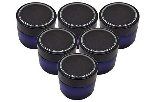 6 Pack Firefly Craft Cobalt Blue Glass Apothecary and Salve Cosmetic Jars with Lids, 2 Ounces Each