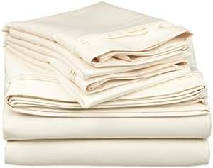 Dreamz cama 400hilos sábana bajera (bolsillo profundo: 15Inch) con 2fundas de almohada Euro rey, color marfil mantequilla sólida, 400TC 100% algodón Extra profundo bolsillo sábana bajera