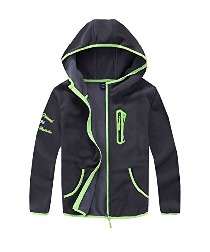 M2C Boys Soft and Cozy Full Zip Polar Fleece Hoodie Jacket 8/9 Dark Gray