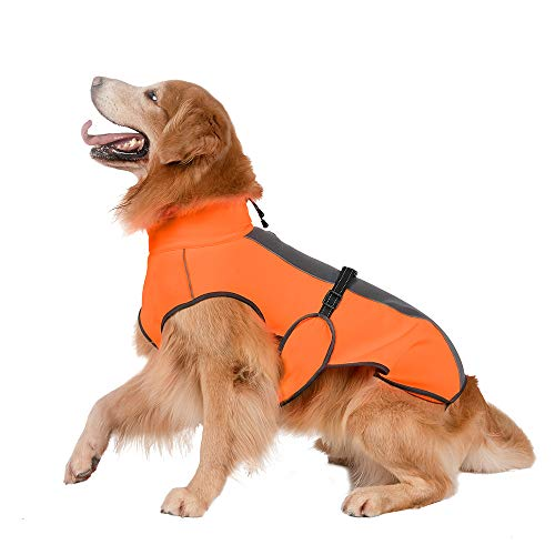 Cold Weather Dog Coat Fleece Lining Warm Dog Jacket Waterproof Adjustable Dog Winter Vest Night Reflective Dog Apparel with Harness & Leash Hole, Orange & Gray, For Small, Medium, Large Dogs, Large