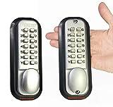 All-Weather Double Keypad Mechanical Keyless Door Lock (Satin Chrome) by Code-a-Key