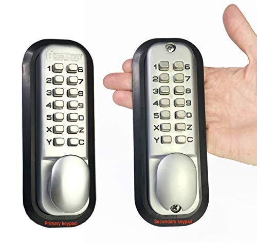 All-Weather Double Keypad Mechanical Keyless Door Lock (Satin Chrome) by ()
