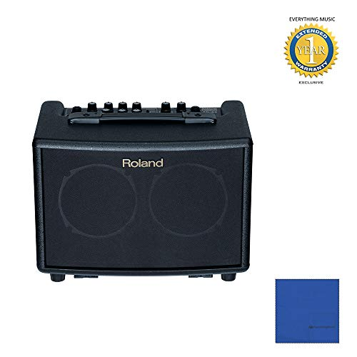 (Roland AC-33 Acoustic Chorus Guitar Amplifier Black with Microfiber and 1 Year Everything Music Extended Warranty)