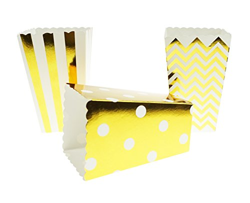 Bilipala Chevron Stripe and Polka Dot Paper Movie Popcorn Favor Boxes, 24 Counts, Gold by Bilipala