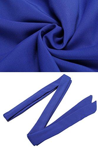 Dozenla Femme Robe Courte Pour Les Robes En Vrac Du Cou O Des Femmes De Mariage De Bureau De Travail Balancer Robes Robe Courte En Coton Tunique Bleue