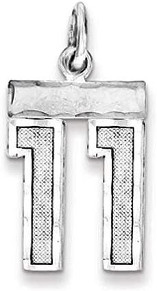 Number 39 Small D//C Pendant Varsity Collection Rhodium Plated Sterling Silver