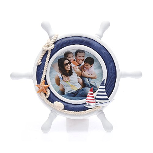 4x4 Inches Nautical Steering Wheel Round Picture Frame with Glass Front (Pier 1 Outdoor Furniture Sale)