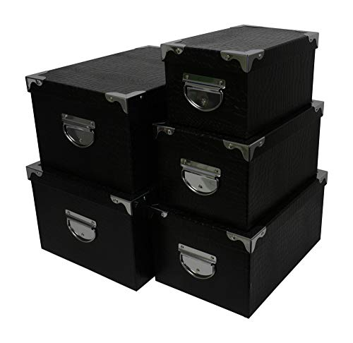 Kraft King Decorative Storage Boxes - Nested, Metal Reinforced Corners, Set of 5 Assorted Sizes (Black Faux Leather)