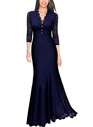 Miusol Women's Retro V Neck Floral Lace 2/3 Sleeve Wedding Long Dress
