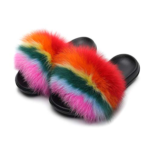 HONGTEYA Real Fox Fur Slides Sandals for Women 20+ Styles Toddler Girls Feather Slip On Summer Furry Slippers Flip Flops Shoes Flats  (11 M US Adult, Rainbow1) ()