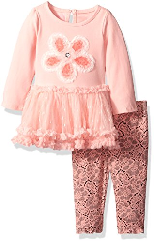 f1bc3818ceac Nannette Baby Girls' 2 Piece Knit Tunic Mesh Skirt and Legging, Coral, 24