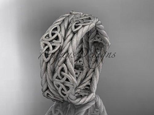 White Gold Celtic Bridal Band (14k White Gold Matte Finish Celtic Rope Wedding Band - 14k White Gold - Promise Ring - Rope Ring - Women's Wedding Ring - Anniversary Gift)
