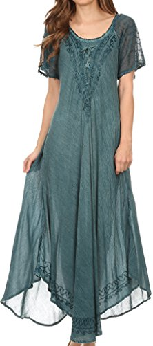 Sakkas 16603 - Egan Long Embroidered Caftan Dress/Cover Up With Embroidered Cap Sleeves - Denim Blue - OS