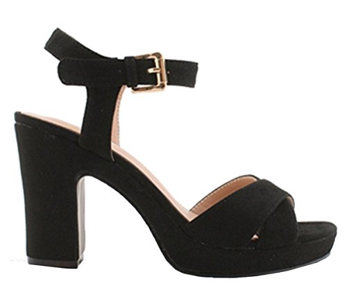 Shoes Heel Black Slingback High SHU Sandals Block CRAZY Peeptoe Suede N2 Ladies Strap Faux Buckle Ankle Womens x0pq6