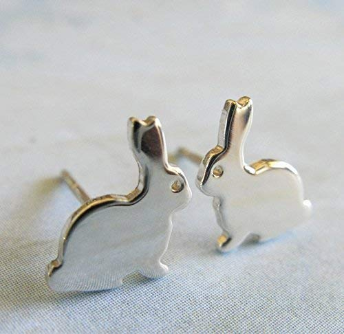 - Bunny rabbit stud earring polished sterling silver post jewelry. Handmade in the USA