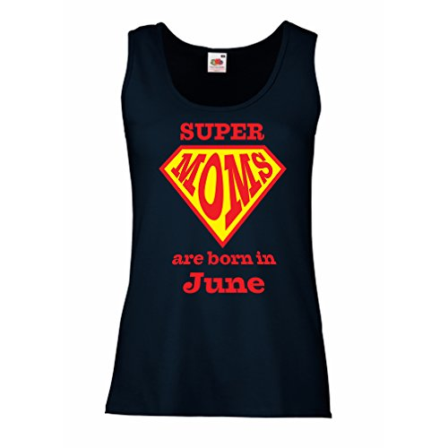 lepni.me Sleeveless t Shirts For Women Hand Printed t Shirts Saying Super Moms Are Born In June - For Mom Birthday Gifts (Medium Blue Multi Color)