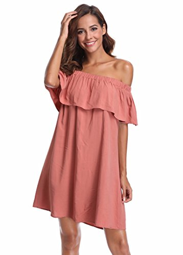MISS Women's MOLY Swing Dress Round Long Pink Sleeves Knitted Neck ffpqrwxa
