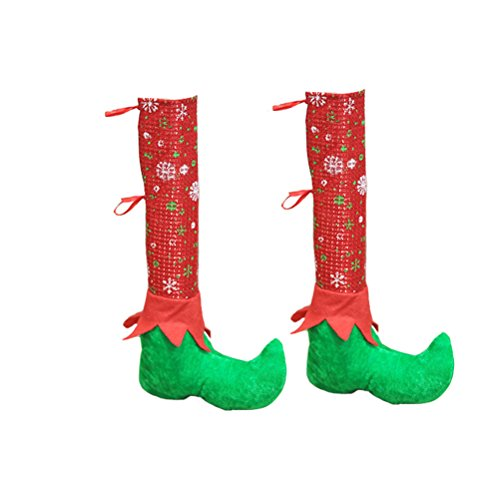 Tinksky Christmas Table And Chair Leg Covers Elf Elves Feet Shoes Legs Party Decorations Favors Novelty Christmas Dinner Table Decoration Christmas Gift for friends 1Pair for $<!--$5.99-->