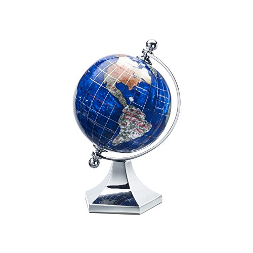 Kalifano Caribbean Blue 3-in. Gemstone Globe with Contempo Stand (Alexander Kalifano Globe)