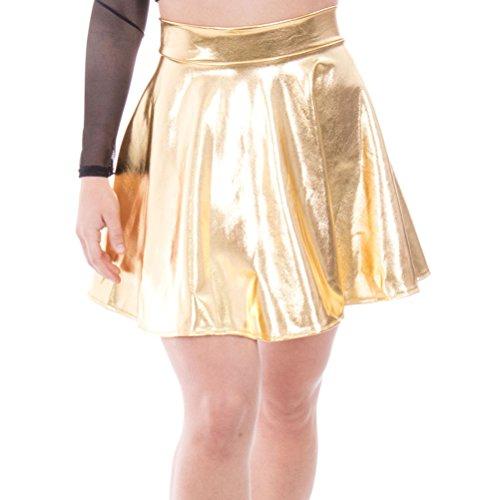 Simplicity Women's Metallic Ballet Dance Flared Skater Skirt Fancy Dress, Golden
