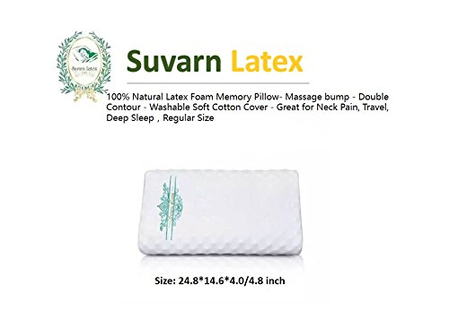 Natural Memory Latex Foam Pillow - Double Contour - Great for Neck Pain, Travel, Deep Sleep (Regular Size) by Survan Latex