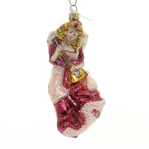 Slavic Treasures Angel w/Mandolin Glass Ornament Musical Signed 02-668 ()