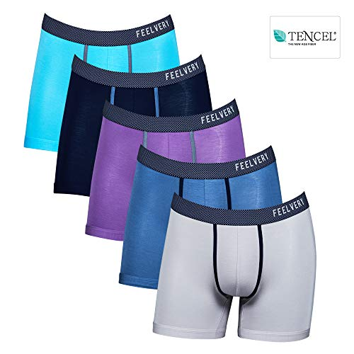 58f7b99a5459c0 Feelvery Men s Ultra-Soft Comfortable Flex-Fit Stretch Tencel Boxer Brief  Underwear (5