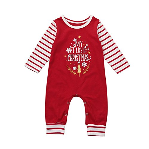 Kimanli Christmas Newborn Kids Baby Girls Boys Letter Romper Jumpsuit Outfit (6Month)
