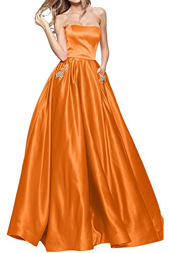 Braut Abschlussballkleider La Damen Ballkleider Orange Satin Marie Langes Abschlussballkleider Abendkleider 5rr8qAwBx