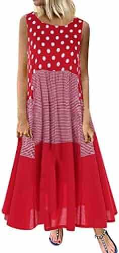 Hot!!🔥🌻 Women Boho Sleeveless Dresses GateLie Ladies Vintage Wave Point Print Polka Dot O-Neck Patchwork Long Maxi Sun Dress Summer Beach Tops