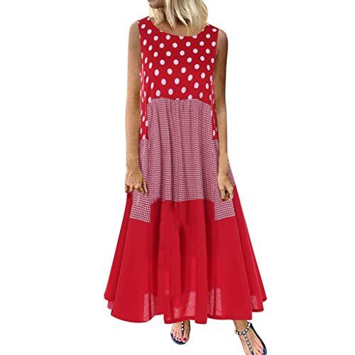(Women Vintage Maxi Sleeveless O Neck Short Sleeve Plus Size Bohemian Print Plaid Long Dress)
