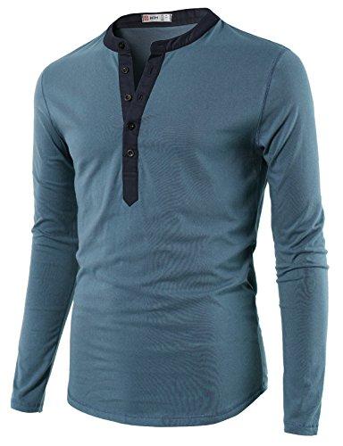 H2H Mens Casual Slim Fit Basic Henley Long Sleeve T-Shirt Steelblue US XL/Asia 2XL (CMTTL085)