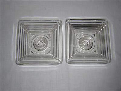 (ANCHOR HOCKING MANHATTAN CANDLESTICK CANDLE HOLDERS TWO DEPRESSION GLASS)