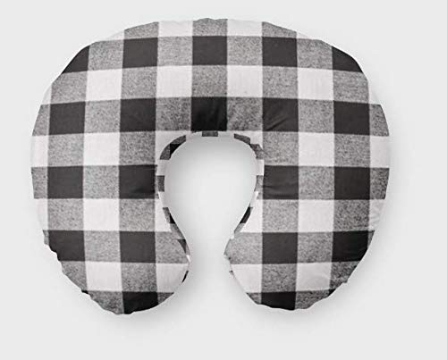 Nursing Pillow Cover in Black Buffalo Plaid - Handmade in the USA by Twig + Bird - Bold Buffalo Plaid Nursery Decor FHTBOP