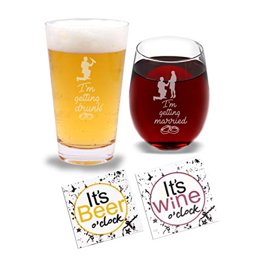 - I'm Getting Married & I'm Getting Drunk - Beer Pint Glass & Wine Glass Combo with Coaster Set and Gift Box - Funny Novelty Present for Wedding Engagement Housewarming Couples