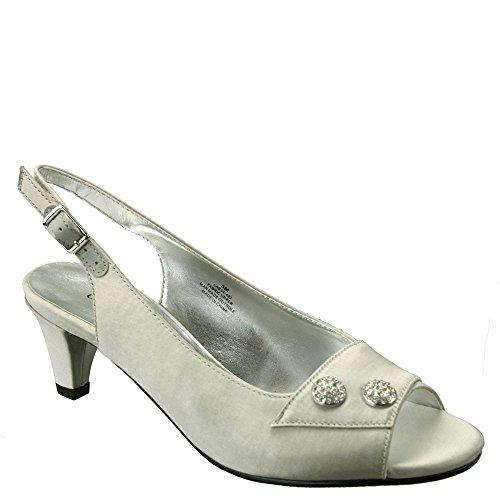 David Tate Party Women's Sandal Silver Satin Size- 7WW
