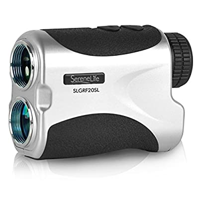 Premium Golf Rangefinder By SereneLife - Digital Golf Distance Meter - Adjustable Manual Lens Focus - Compact Handheld Design - Pin-Seeking & Distance Measuring Detection Modes - Includes Travel Case