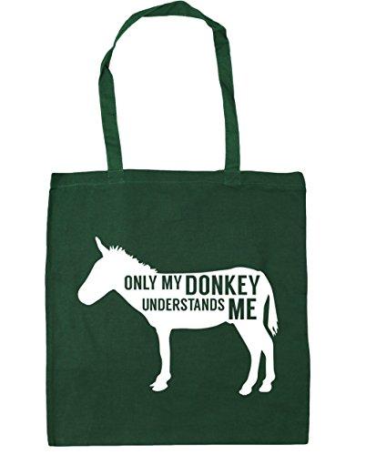 HippoWarehouse solo My Donkey entiende me Tote Compras Bolsa de playa 42cm x38cm, 10litros verde oscuro
