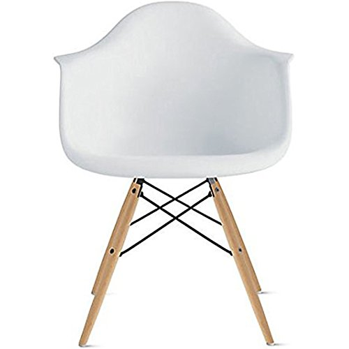 Floor 1 Starck - 2xhome - Single (1) - White Plastic Armchair - Natural Wooden Legs Dining Room Chair - Lounge Arm Arms Armed Chair Chairs Armchairs Seat Wood Dowel Leg Legged Base