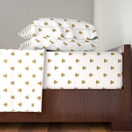 Roostery Antique 4pc Sheet Set Antique Bees Gold Antique Gold Bees Napoleon French White Gilt by Peacoquettedesigns 100% Cotton Sateen King Sheet Set