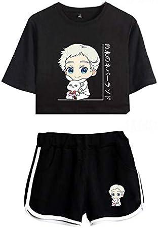 The Promised Neverland Sportswear Set Mujeres/Niñas Anime The Promised Neverland Emma Norman Ray Camiseta Corta y Pantalones Cortos Cosplay Conjunto de Dos Piezas